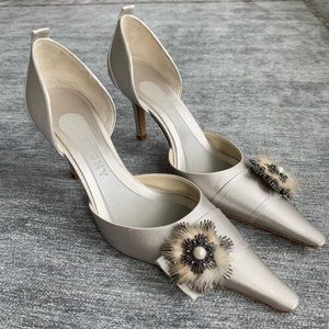 Givenchy satin heels with fur and Pearl detail
